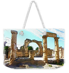 Weekender Tote Bag featuring the photograph Do-00408 Colonnades In Tyr by Digital Oil