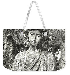 Weekender Tote Bag featuring the mixed media Do Angels Look Sad  by Fine Art By Andrew David