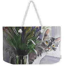 Do You See Me? Pet Portrait In Watercolor .modern Cat Art With Flowers  Weekender Tote Bag