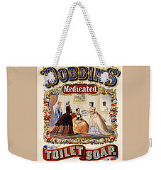 Weekender Tote Bag featuring the digital art Dobbins Medicated Toilet Soap by ReInVintaged
