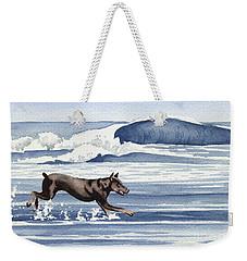 Doberman At The Beach  Weekender Tote Bag by David Rogers