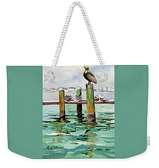 Weekender Tote Bag featuring the painting Dock O' The Bay by Kris Parins