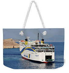 Docking Ferry On Halki Weekender Tote Bag