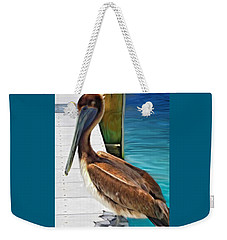 Weekender Tote Bag featuring the painting Dockside Pelican by Barbara Chichester