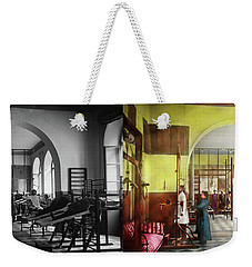 Weekender Tote Bag featuring the photograph Doctor - Physical Therapist - Welcome To The A Traction 1918 - Side By Side by Mike Savad