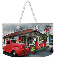 Weekender Tote Bag featuring the photograph Dodge At Cruisers by Lori Deiter