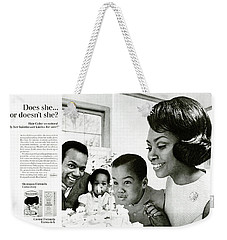 Weekender Tote Bag featuring the digital art Does She Or Doesn't She by ReInVintaged