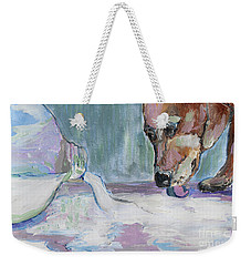 Weekender Tote Bag featuring the photograph Dog And Spilled Milk by Jeanne Forsythe
