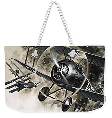 Dog Fight Between British Biplanes And A German Triplane Weekender Tote Bag by Wilf Hardy