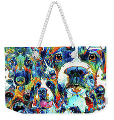 Weekender Tote Bag featuring the painting Dog Lovers Delight - Sharon Cummings by Sharon Cummings