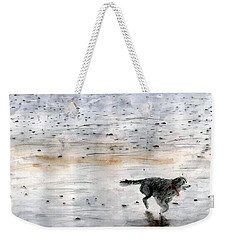 Dog On Beach Weekender Tote Bag