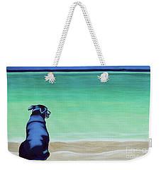 Black Lab Dog On The Beach Weekender Tote Bag