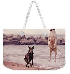 Dog With Frisbee Weekender Tote Bag