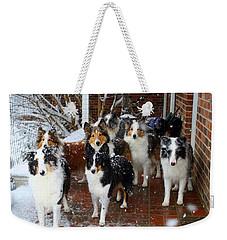 Dogs During Snowmageddon Weekender Tote Bag