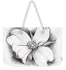 Dogwood Blossom Charcoal Weekender Tote Bag by MM Anderson
