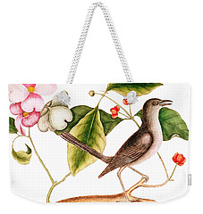 Dogwood  Cornus Florida, And Mocking Bird  Weekender Tote Bag by Mark Catesby