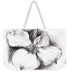 Dogwood Flower In Charcoal Weekender Tote Bag