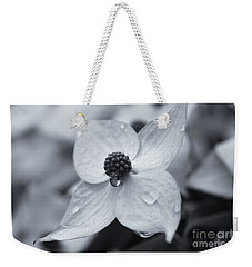Weekender Tote Bag featuring the photograph Dogwood Rain Mono by Rachel Cohen
