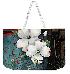 Dogwood Teal And Gold Weekender Tote Bag