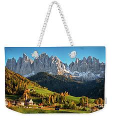 Dolomite Village In Autumn Weekender Tote Bag