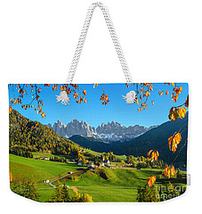 Dolomites Mountain Village In Autumn In Italy Weekender Tote Bag