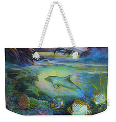 Weekender Tote Bag featuring the painting Dolphin Fantasy by Denise Fulmer