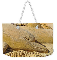 Dolphin Sand Castle Sculpture On The Beach 799 Weekender Tote Bag