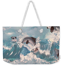 Dolphins At Play Weekender Tote Bag