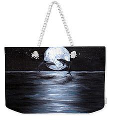 Dolphins Dancing Full Moon Weekender Tote Bag