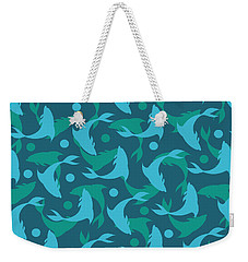 Dolphins In Blue  Weekender Tote Bag by Mark Ashkenazi