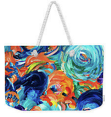 Dolphins Playing In Peonies Weekender Tote Bag