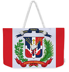 Weekender Tote Bag featuring the drawing Dominican Republic Coat Of Arms by Movie Poster Prints