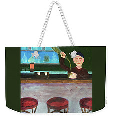 Weekender Tote Bag featuring the painting Don At Tres Gringos Bartending by Donald J Ryker III