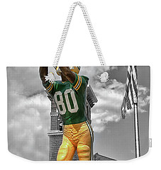 Weekender Tote Bag featuring the photograph Donald Driver Statue by Joel Witmeyer
