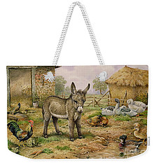 Donkey And Farmyard Fowl  Weekender Tote Bag by Carl Donner