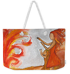Weekender Tote Bag featuring the painting Don't Be Afraid by Gioia Albano