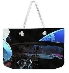 Dont Panic - Tesla In Space Weekender Tote Bag