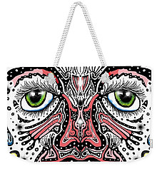 Weekender Tote Bag featuring the digital art Doodle Face by Darren Cannell
