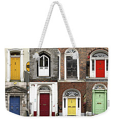 Weekender Tote Bag featuring the photograph Doors Of Limerick by Marie Leslie