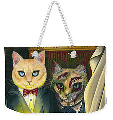 Weekender Tote Bag featuring the painting Dorian Gray by Carrie Hawks