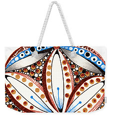 Weekender Tote Bag featuring the drawing Dotted Zendala by Jan Steinle