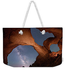 Weekender Tote Bag featuring the digital art Double Arch And The Milky Way - Arches National Park - Moab, Utah 2 by OLena Art Brand