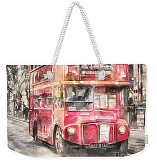 Double-decker Red Bus Of London Weekender Tote Bag by Shirley Stalter
