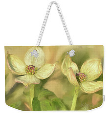 Weekender Tote Bag featuring the digital art Double Dogwood Blossoms In Evening Light by Lois Bryan