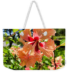 Weekender Tote Bag featuring the photograph Double Headed Hibiscus by Brian Eberly