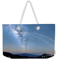 Double Lasers With The Milky Way Panorama Weekender Tote Bag
