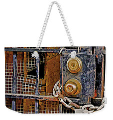 Weekender Tote Bag featuring the mixed media Double Locked by Lynda Lehmann