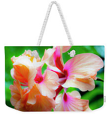 Double Peach Hibiscus Two Weekender Tote Bag