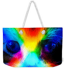 Weekender Tote Bag featuring the painting Double Rainbow Cat by David Lee Thompson