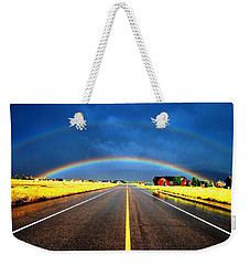 Double Rainbow Over A Road Weekender Tote Bag